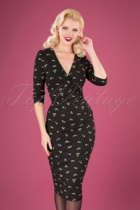 50s Gianna Floral Dots Pencil Dress in Black
