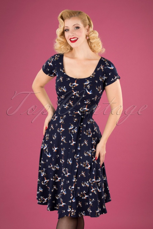TopVintage Boutique Collection 31244 Navy Hummingbird Bow Dress 20190802 040MW