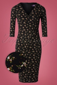 Topvintage Boutique Collection 31173 Black Yellow Floral Dress 20190805 003Z