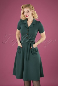 40s Midi Revers Dress in Petrol