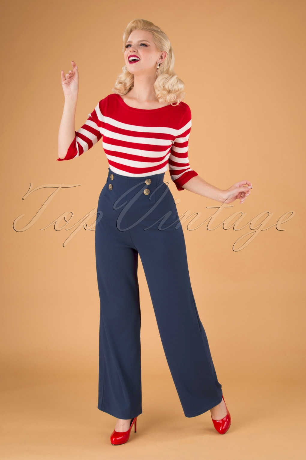1940s Pants History- Overalls, Jeans, Sailor, Siren Suits 40s Mabbie Wide Trousers in Navy £23.22 AT vintagedancer.com
