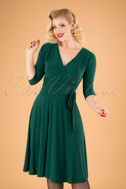 Vintage Chic 31248 Forest Green Dress 20190830 040M W