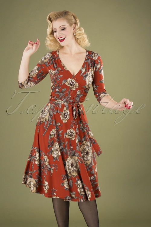 Vintage Chic 31542 Red Floral Swing Dress 20190906 040MW
