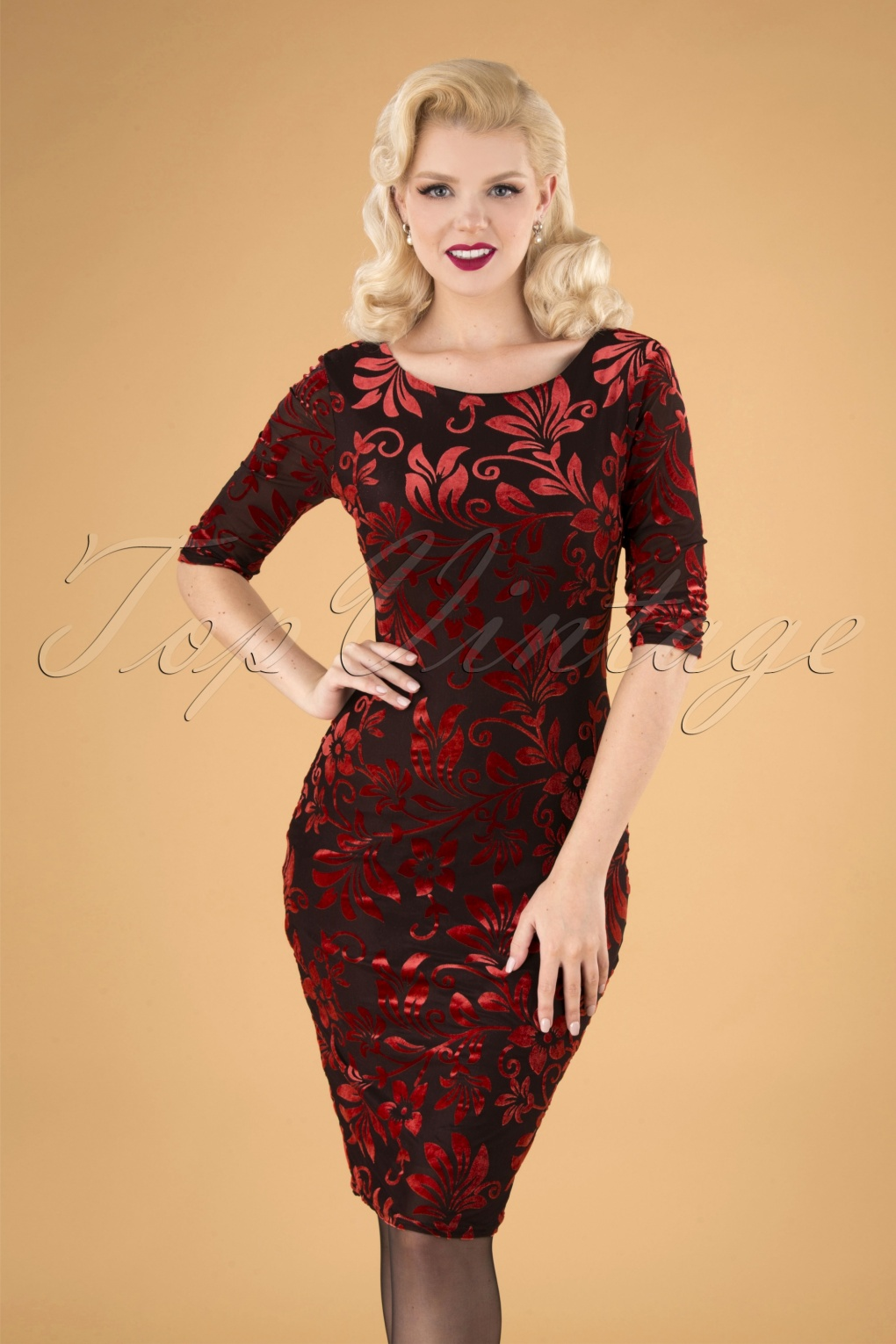 Wiggle Dresses | Pencil Dresses 40s, 50s, 60s 50s Deanna Floral Pencil Dress in Brown and Red £41.63 AT vintagedancer.com