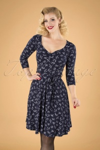 50s Fabienne Swallow Swing Dress in Navy