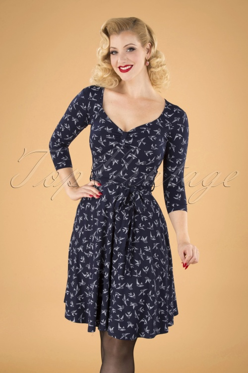 Vintage Boutique Collection 26499 Navy Cream Dress20190812 040MW