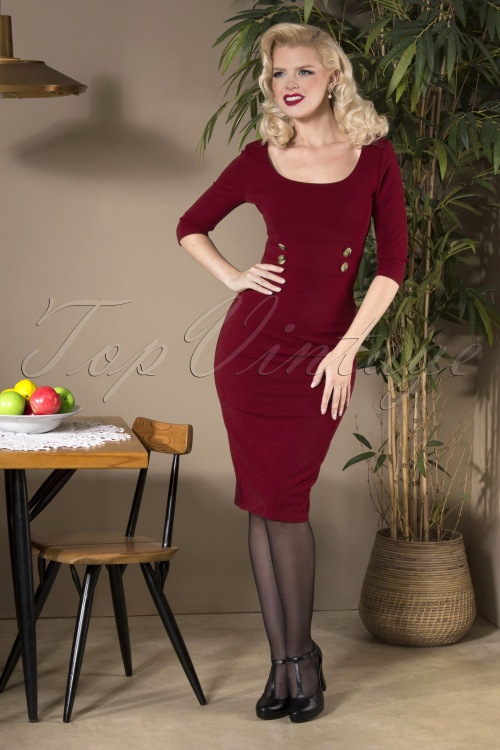 Vintage Chic 31134 Pencil Dress Wine20190809 040MW