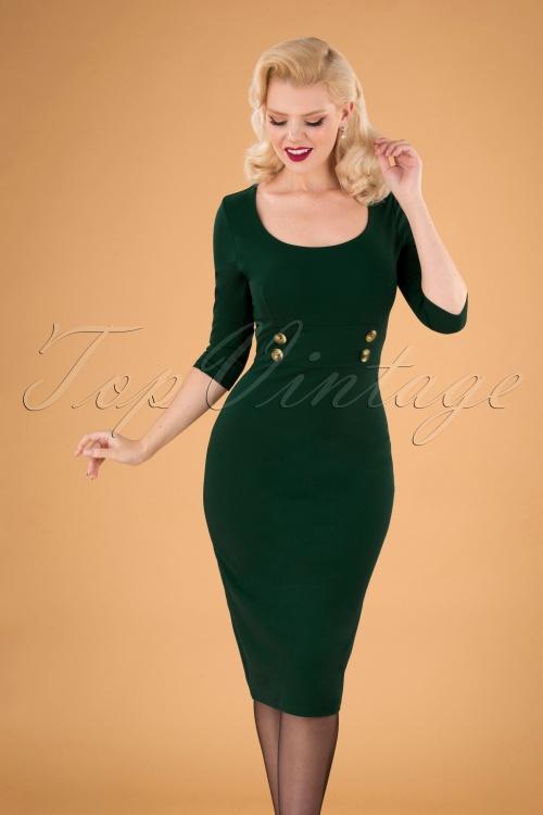 Vintage Chic 31135 Pencil Dress Green 20190812 040MW