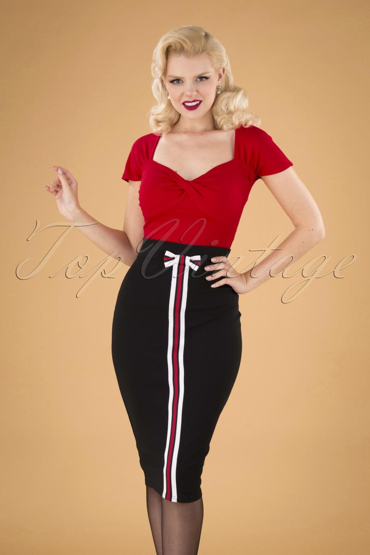60s Skirts | 70s Hippie Skirts, Jumper Dresses 60s Jinny Bow Pencil Skirt in Black £34.42 AT vintagedancer.com