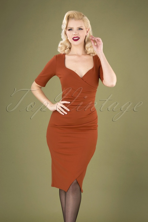 Vintage chic 31143 pencil Dress Cinnamon20190812 040MW