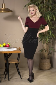 Candy Pencil Dress Années 50 en Bordeaux et Noir