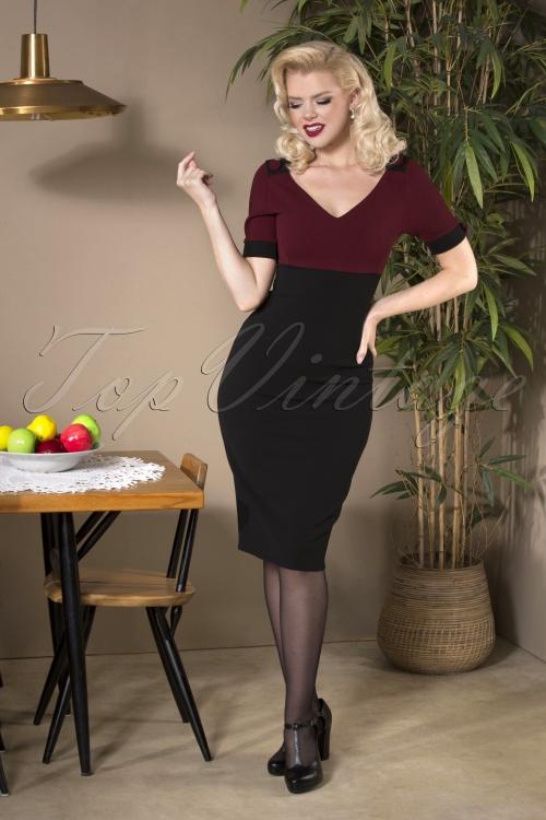 Vintage Chic 31187 Pencil dress Wine Black20190814 040MW