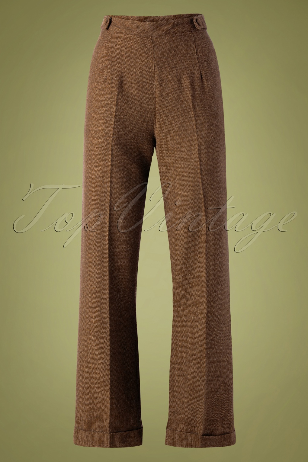 1940s Dresses and Clothing UK | 40s Shoes UK 40s Party On Trousers in Brown £34.19 AT vintagedancer.com