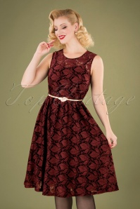 Sophia Autumn Overlay Dress Années 50 en Bordeaux