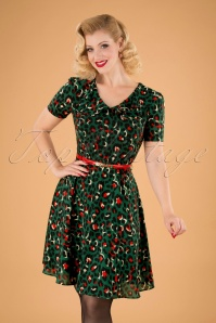 50s Melissa Belted Leopard Dress in Green