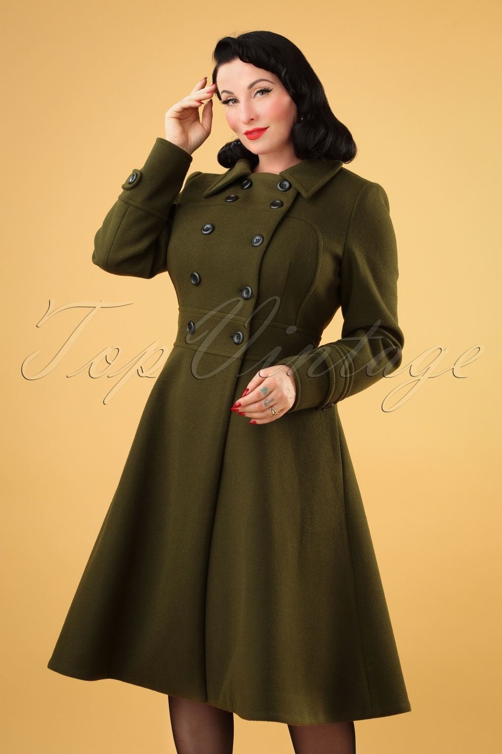 1940s Coats & Jackets Fashion History 40s Martha Longline Coat in Khaki £120.58 AT vintagedancer.com