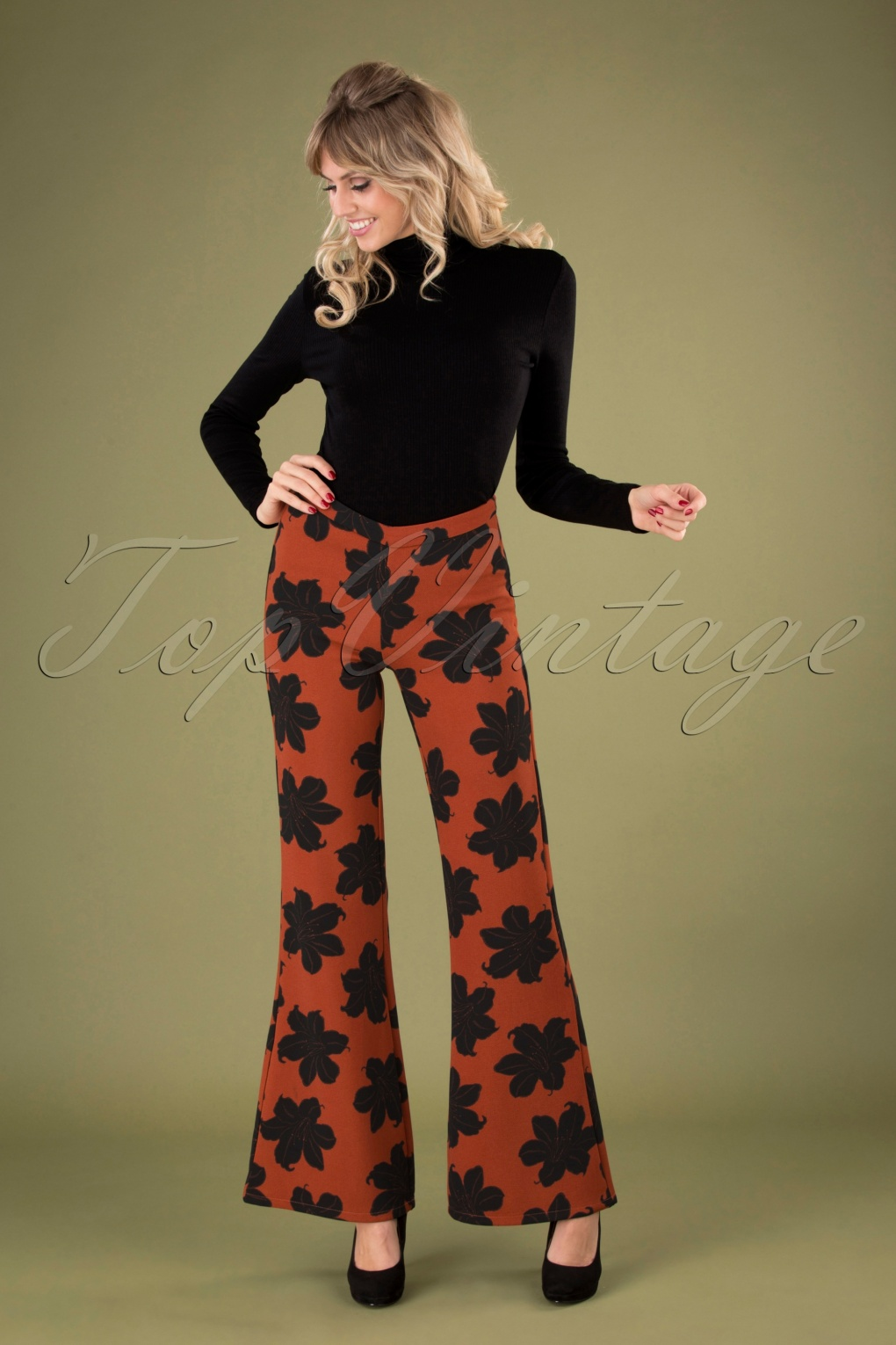 Vintage High Waisted Trousers, Sailor Pants, Jeans 70s Peonia Floral Trousers in Rust £64.58 AT vintagedancer.com