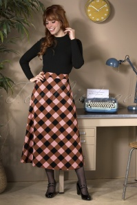 60s Penoia Check Skirt in Pink and Brown