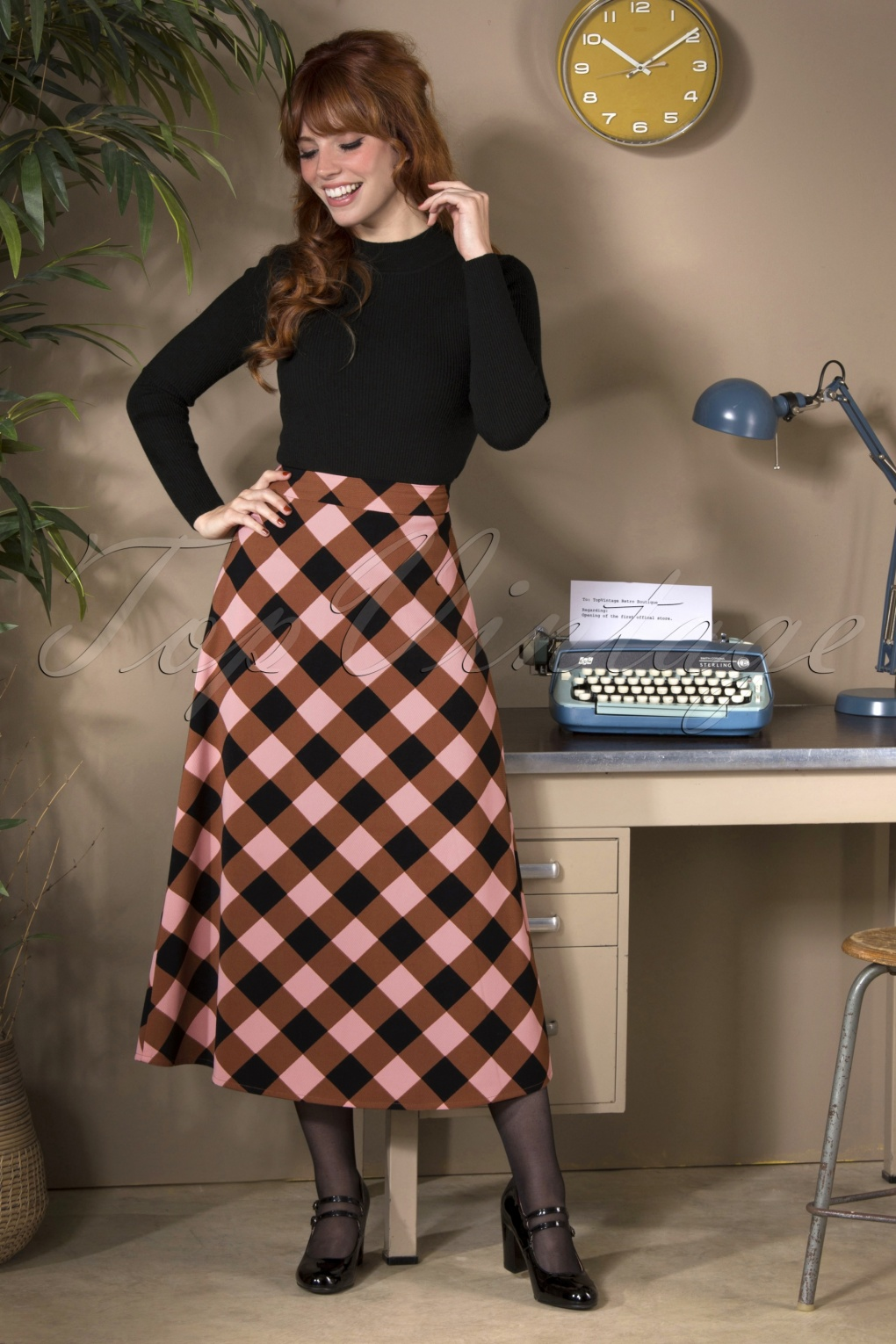 60s Skirts | 70s Hippie Skirts, Jumper Dresses 60s Penoia Check Skirt in Pink and Brown £47.34 AT vintagedancer.com