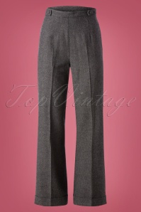 40s Party On Trousers in Charcoal