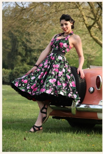 Favoriete 50s Retro halter Rosa black jurk swing dress &OY61