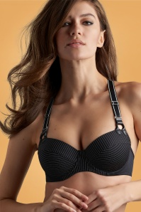 Gloria Plunge Balconette Pinstripe Bra in Black