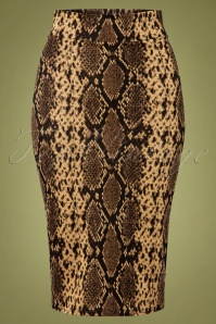 Vintage Chic for TopVintage 50s Edyth Snake Pencil Skirt in Brown