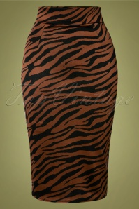 Edyth Zebra Pencil Skirt Années 50 en Marron