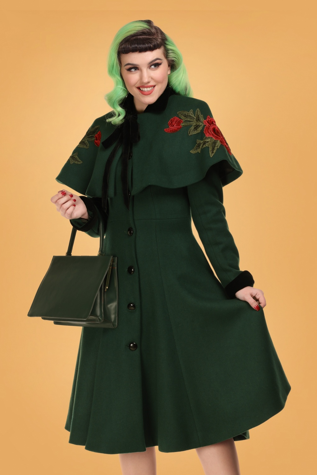 1940s Style Coats and Jackets for Sale 40s Claudia Coat And Floral Cape in Green Wool £198.98 AT vintagedancer.com