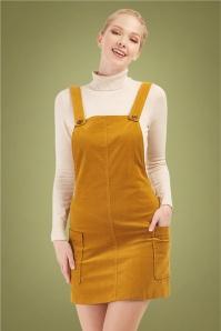 Bright Beautiful 30187 Lena Cord Pinafore Dress in Mustard 20190710 020L W