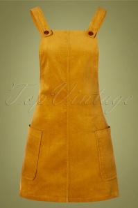 60s Lena Corduroy Pinafore Dress in Mustard