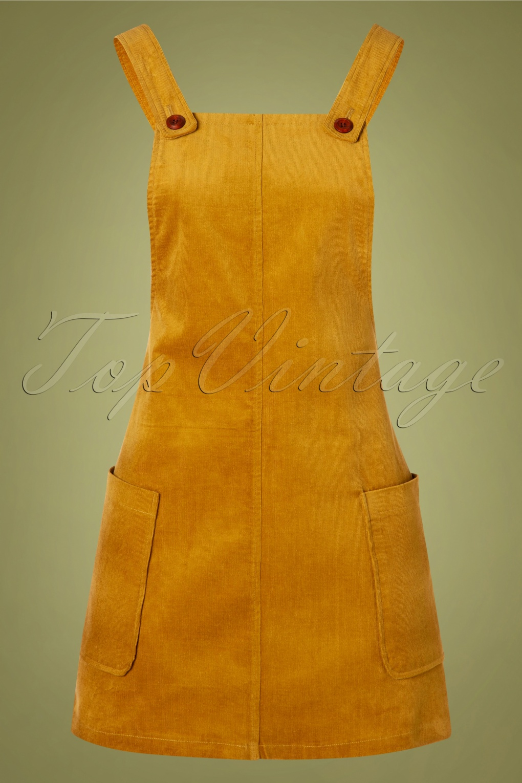 60s Skirts | 70s Hippie Skirts, Jumper Dresses 60s Lena Corduroy Pinafore Dress in Mustard £41.97 AT vintagedancer.com