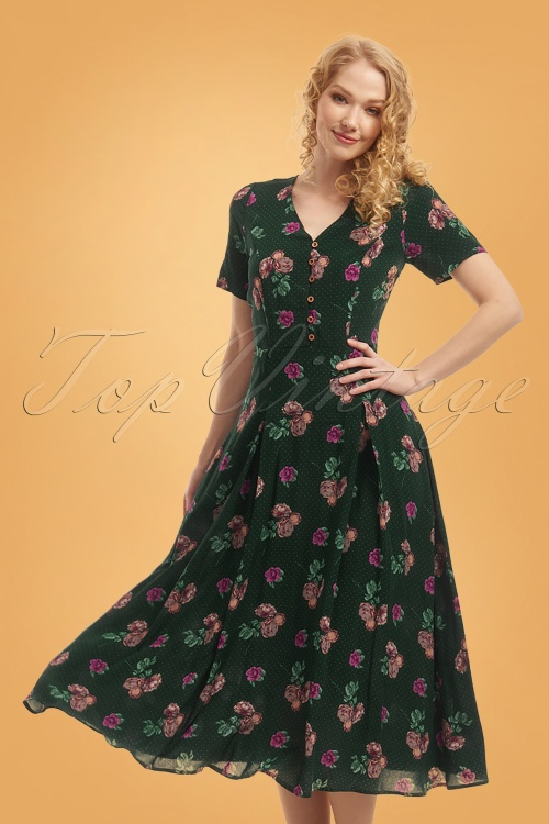 Bright Beautiful 30183 Daisy Polka Floral Dress in Green 20190710 020L W
