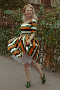 Collectif 30722 Amber Lea Pumpkin Stripe Swing Dress in Multi Lola Ramona 30438 Ava All Tied Up Suede Pumps in Grass Green 20191004 020L
