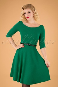50s Arabella Swing Dress in Emerald Green