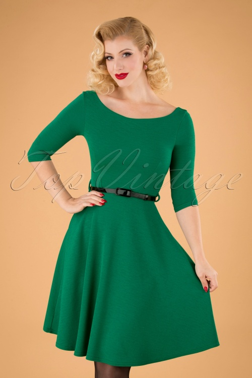 Vintage Chic 31430 Emerald Green Swing Dress 20190906 040M W