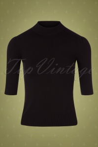 50s Chrissie Knitted Turtle Neck Top in Black