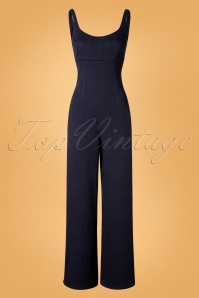 Bright and Beautiful 70s Samantha Denim Jumpsuit in Navy