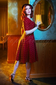 Collectif TV 30819 Swingdress Red Polka Flock Trixie 18 1517W