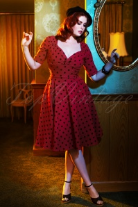 Collectif TV 30819 Swingdress Red Polka Flock Trixie 18 1502W