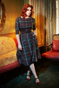 50s Suzanne Westie Check Swing Dress in Multi
