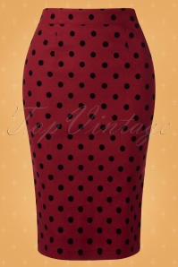 Collectif TV 30806 Pencilskirt Red Polka Flock Polly 18 0002W