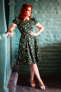 Peta Mushroom Swing Dress Années 50 en Vert