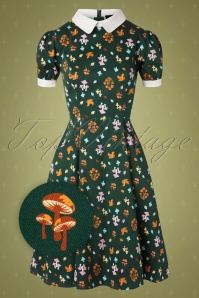 Collectif TV 30823 Swingdress Green Mushroom Peta 13 0007Z