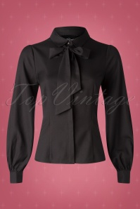 Collectif TV 30808 Top Black Plain Beccy Ribbon 19 0003W