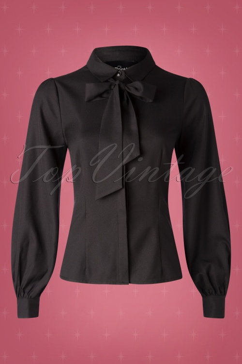 Collectif TV 30808 Top Black Plain Beccy Ribbon 19 0003W