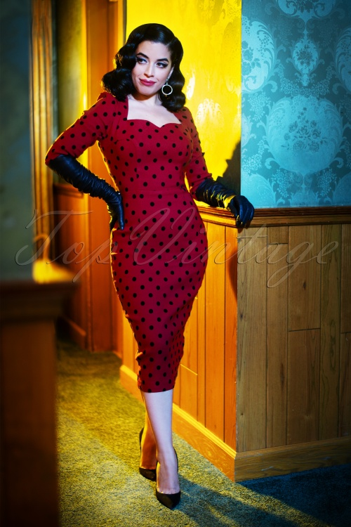 Collectif TV 30816 Pencildress Red Polka Flock Vanessa 18 1555W