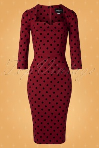 Collectif TV 30816 Pencildress Red Polka Flock Vanessa 18 0003W