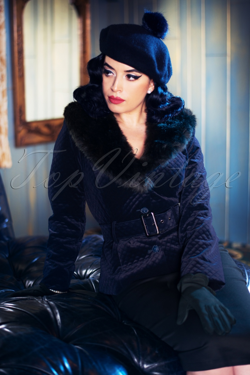 1940s Coats & Jackets Fashion History 40s Molly Quilted Velvet Jacket in Navy £108.52 AT vintagedancer.com