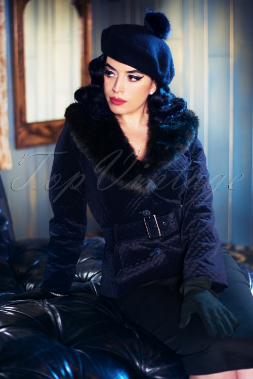 Collectif TV 30811 Jacket Navy Velvet Quilted Molly 18 1420W